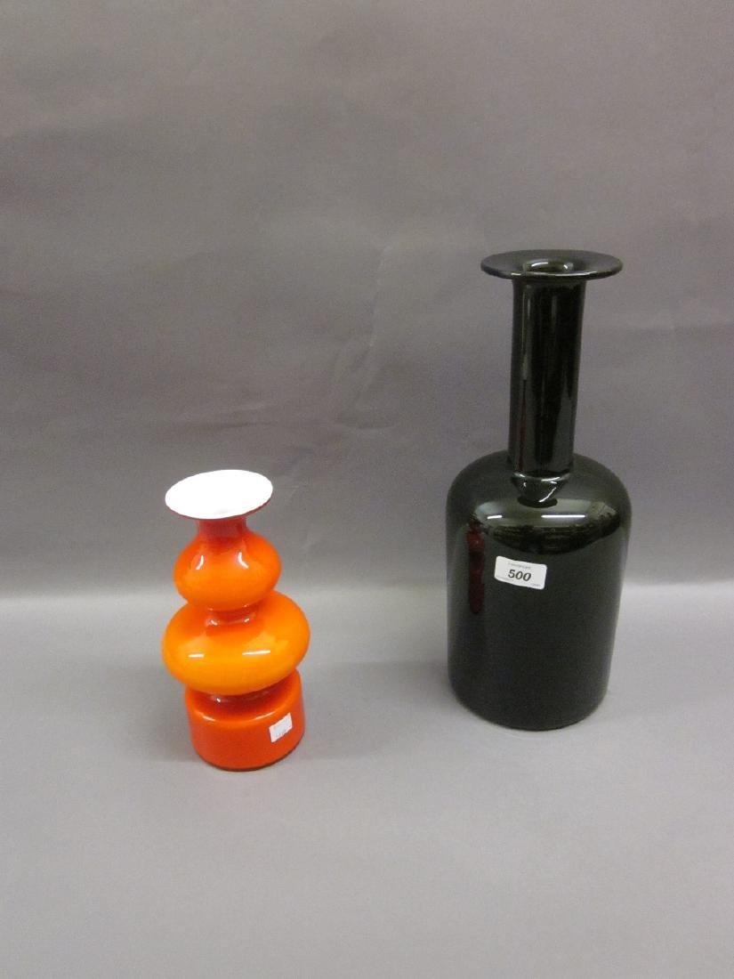 Holmegaard dark green bottle vase, together with a