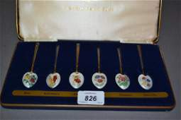 Cased set of six Birmingham silver gilt floral enamel