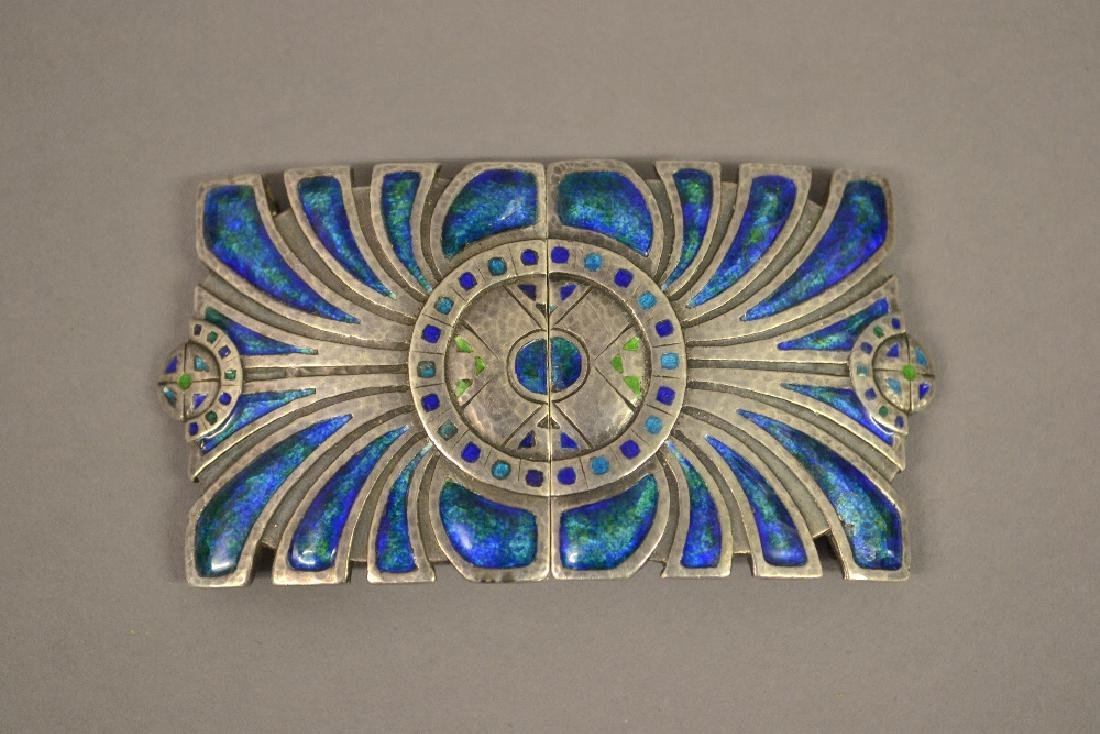 Liberty and Co. silver and enamel belt buckle