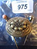 Victorian yellow metal oval mourning brooch, together