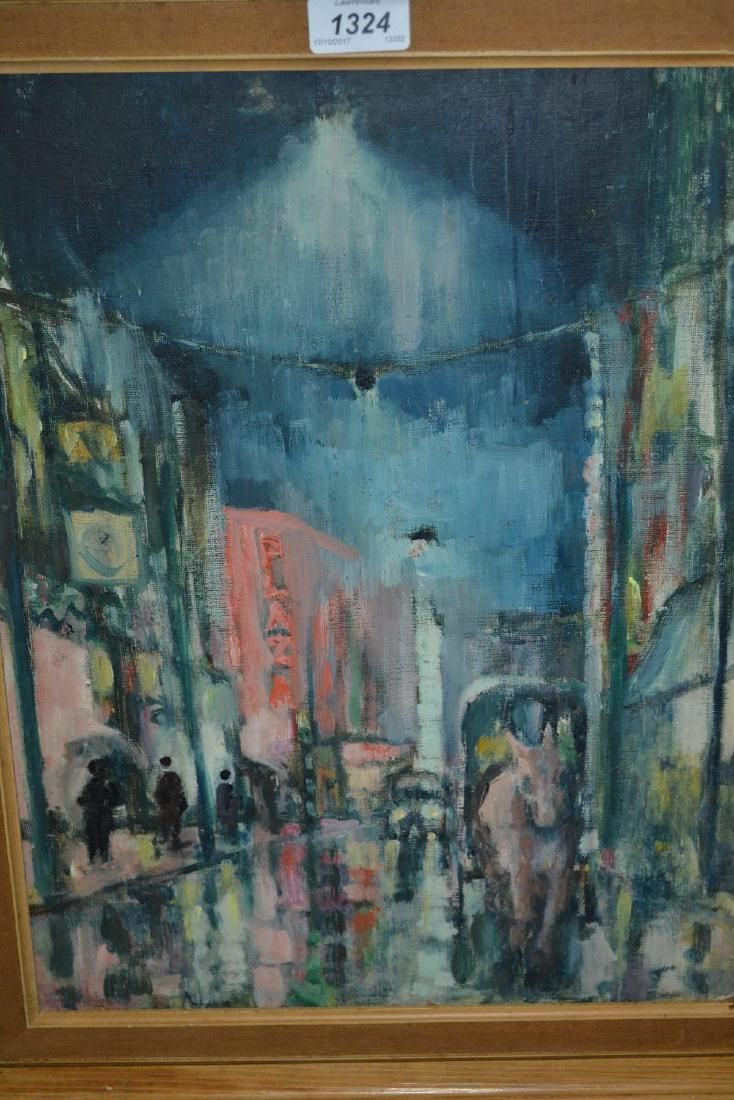 Oil on board, street scene at night with figures and