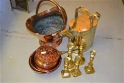 Brass watering can copper coal scuttle sieve copper