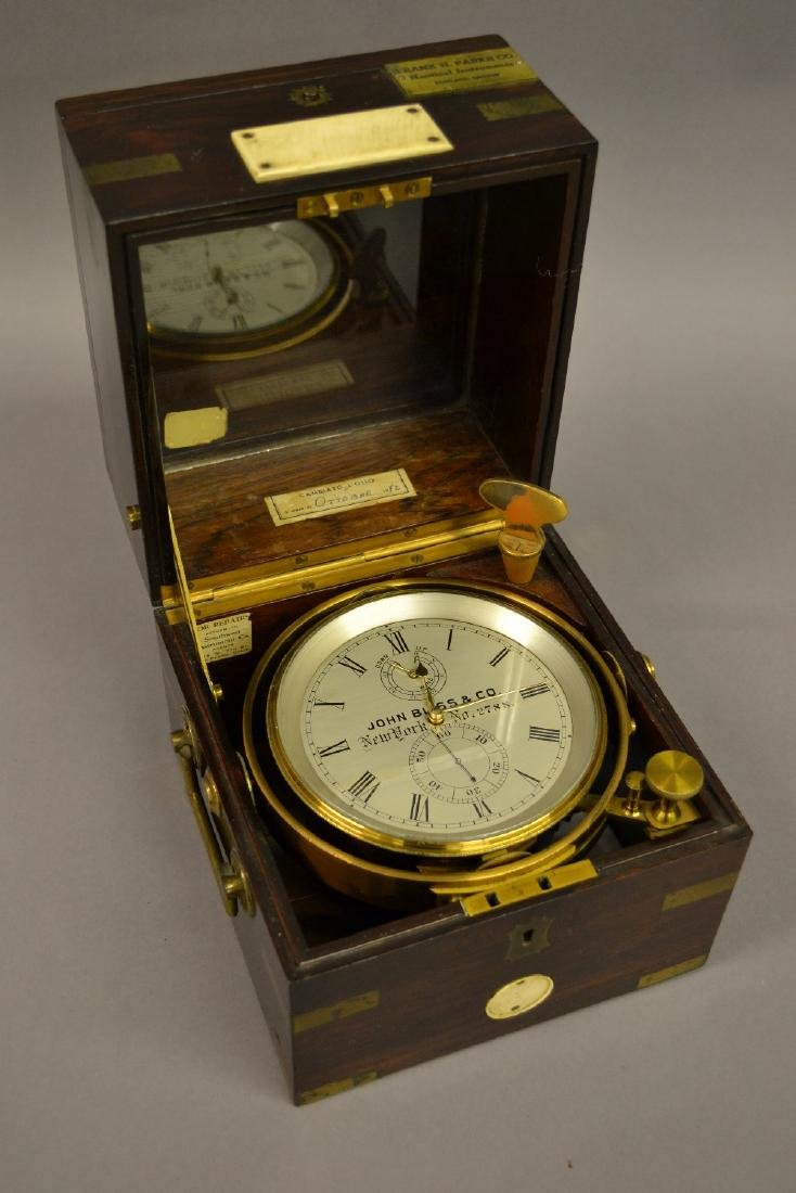 Early 20th Century rosewood and brass cased marine