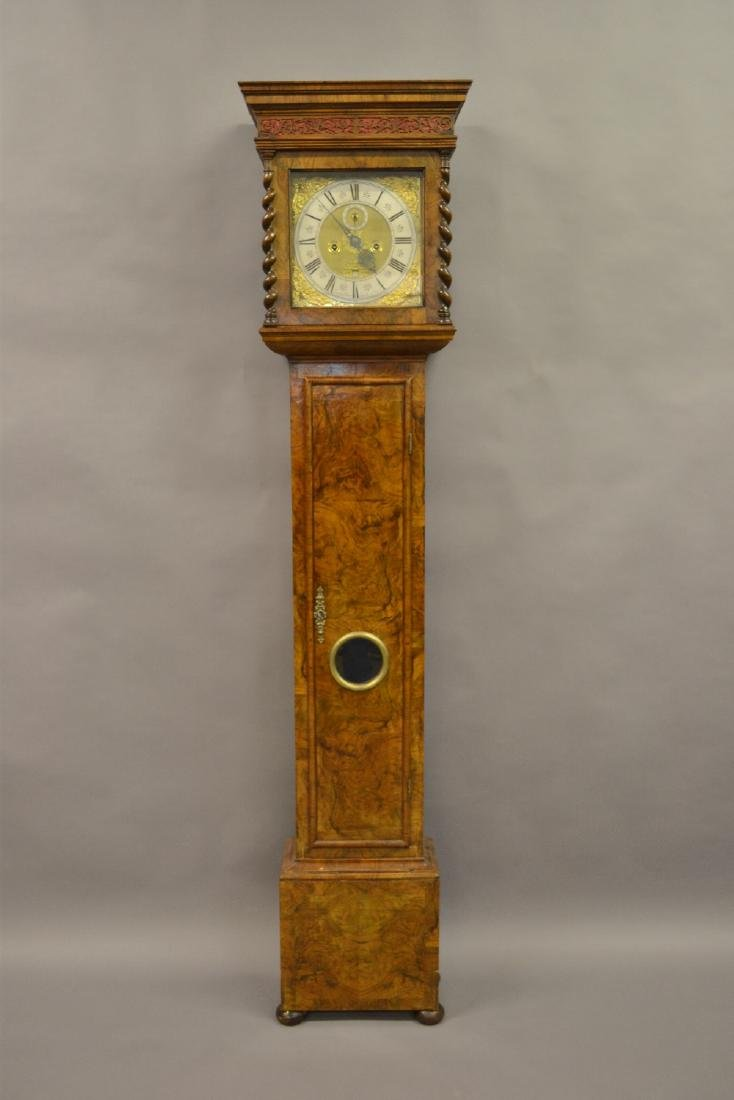 Figured walnut longcase clock with square hood with