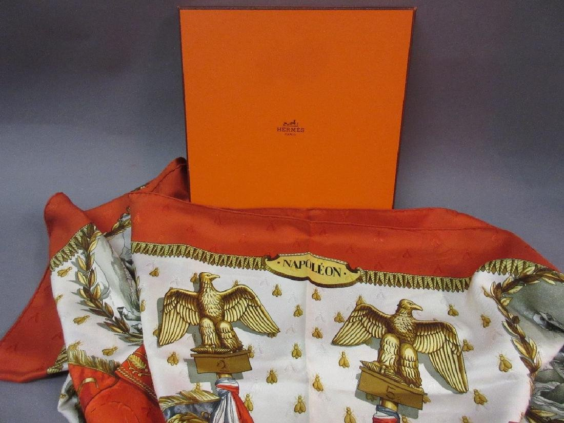 Hermes Napoleon pattern silk scarf in original box