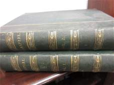 Two large part leather bound volumes  Works of