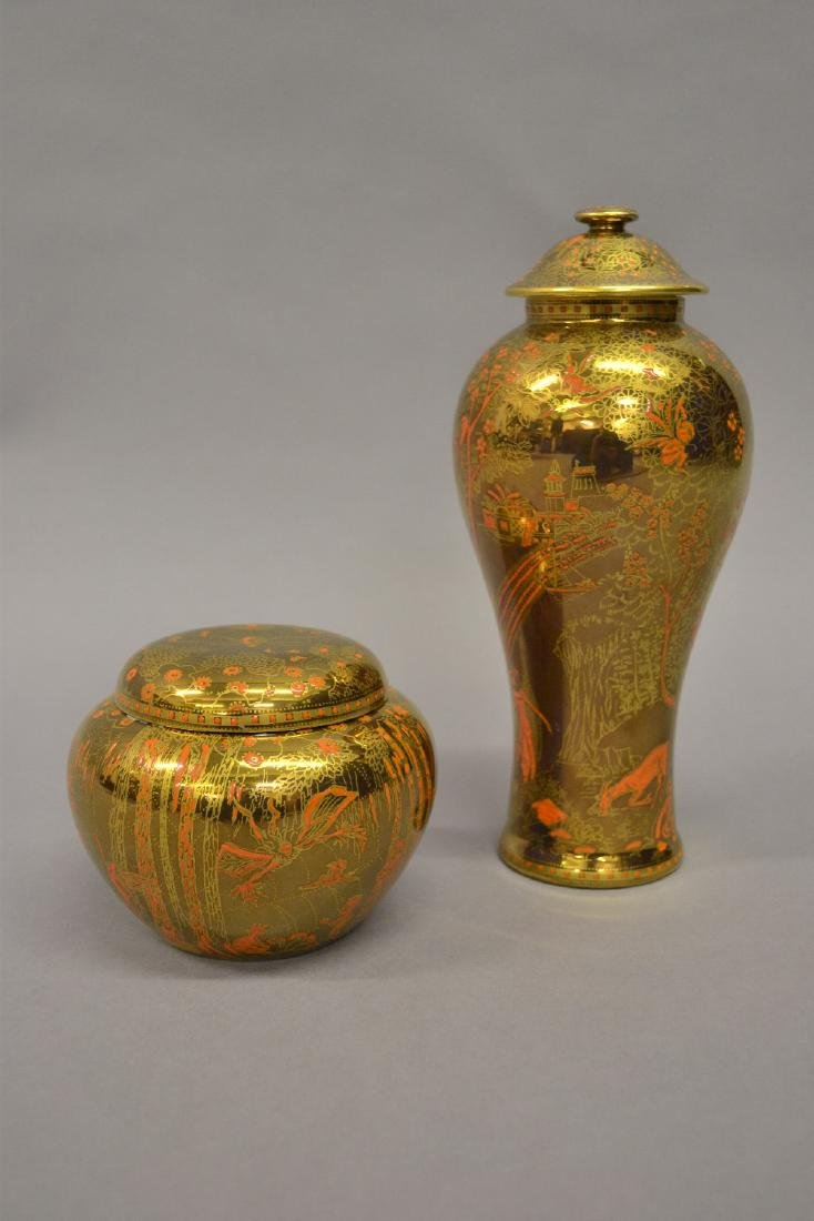 Wedgwood Fairyland jar and cover of squat baluster form