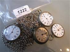 Continental silver cased fob watch suspended from a