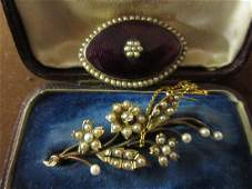 Victorian gold lily of the valley brooch set diamond