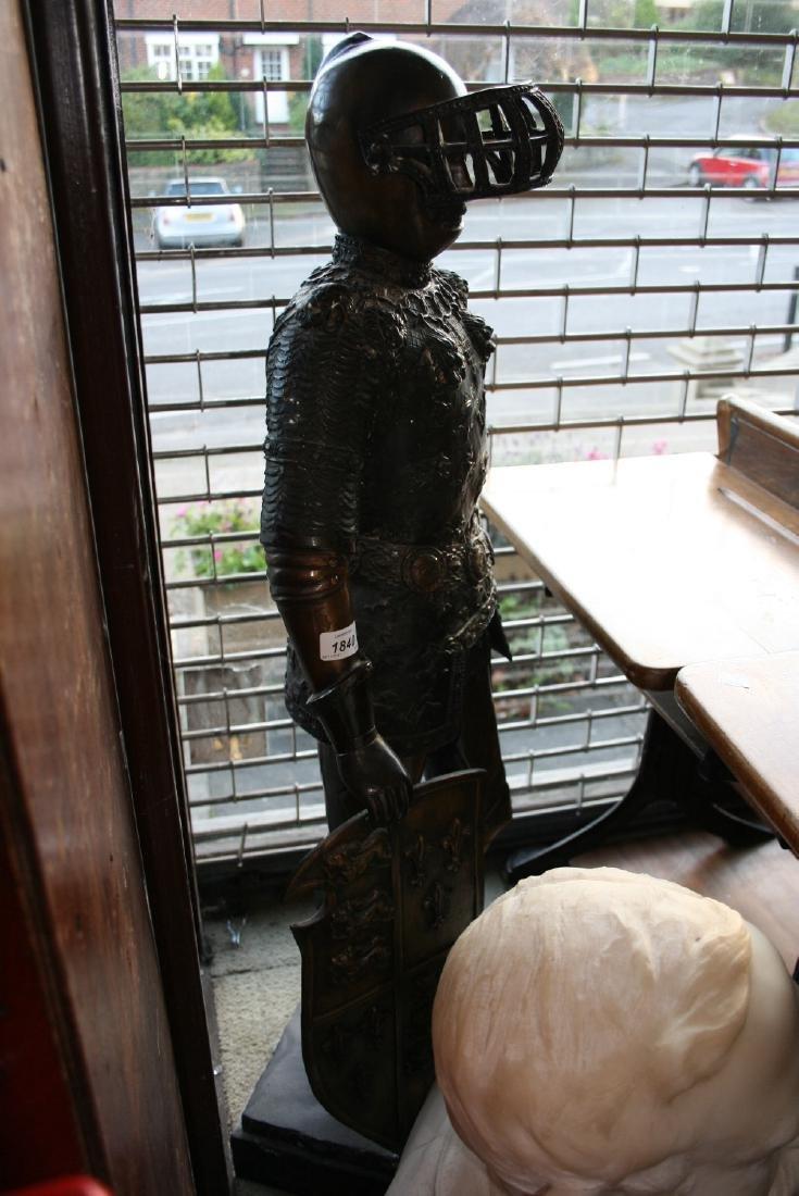 20th Century dark patinated bronze figure of a knight