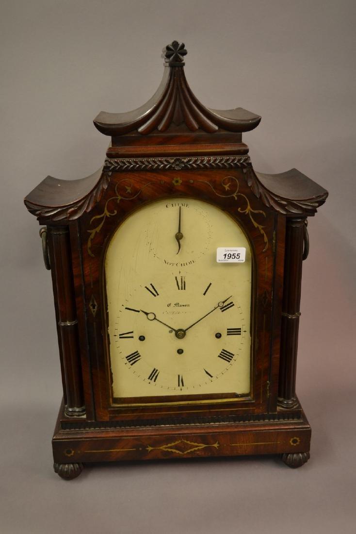 Regency mahogany and brass inlaid bracket clock, the