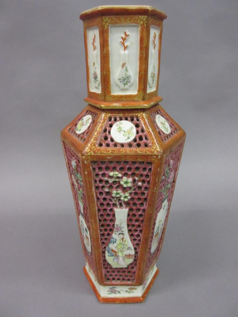 19th Century Chinese famille rose hexagonal baluster