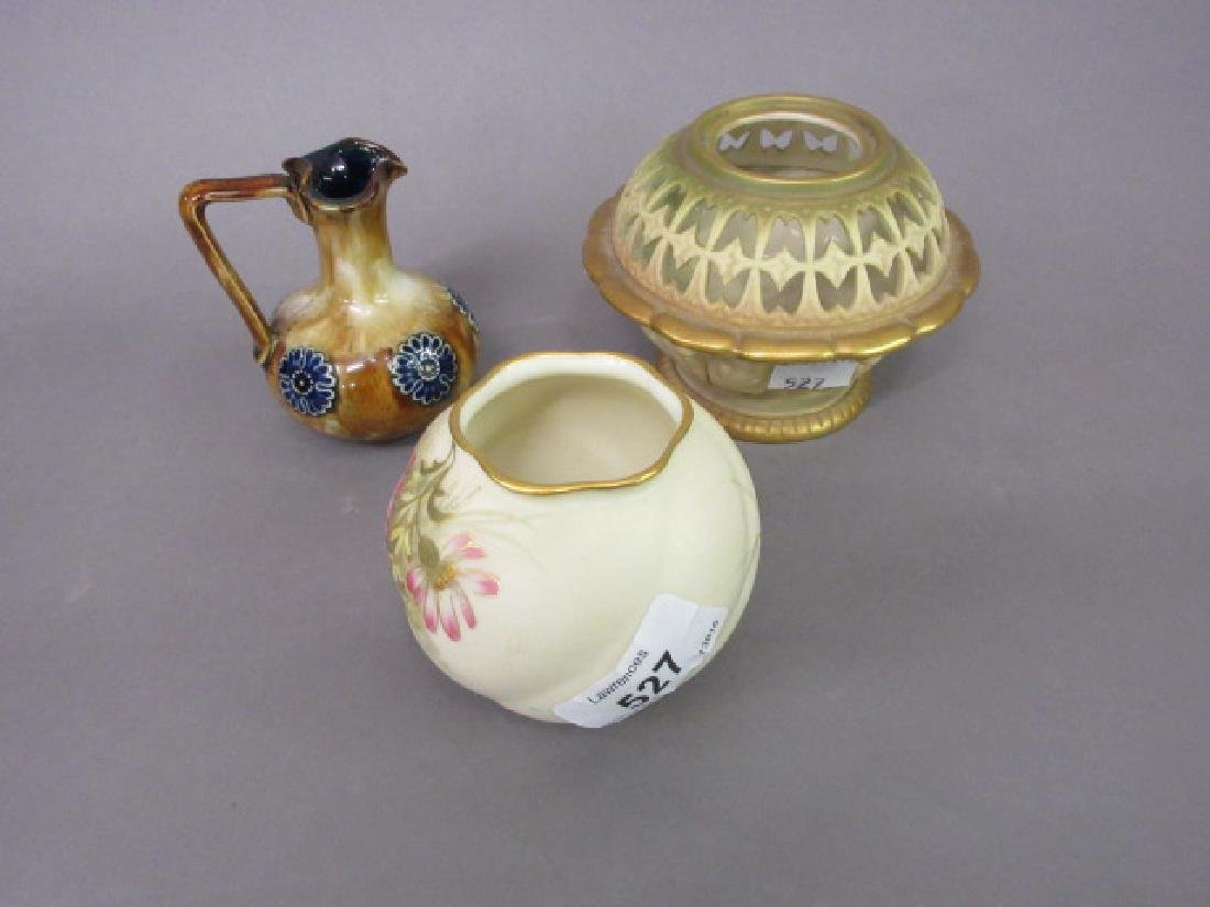 Royal Worcester vase decorated with flowers, another