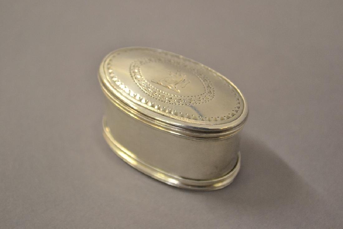 George III silver oval nutmeg grater by Hester Bateman,