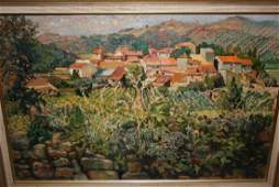 Ewan Cameron oil on canvas laid down on board village