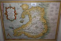 Framed antique hand coloured map of Wales by Ortelius