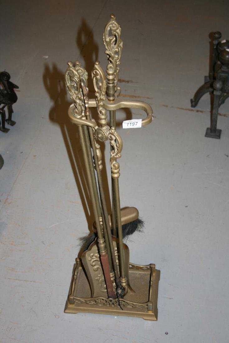 Reproduction brass fireside companion set with stand