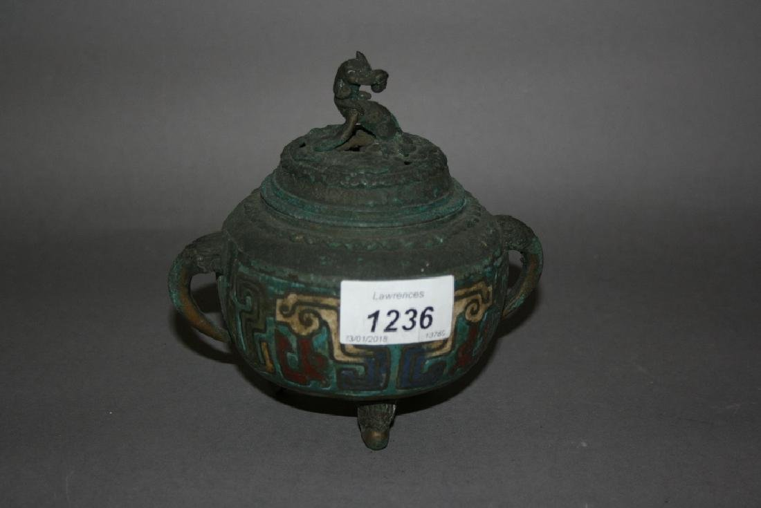 Oriental cloisonné type koro, the cover mounted with a