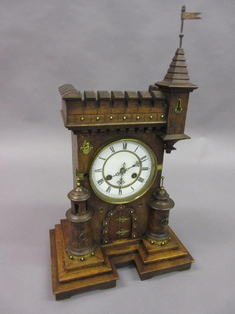 19th Century German oak mantel clock in the form of a