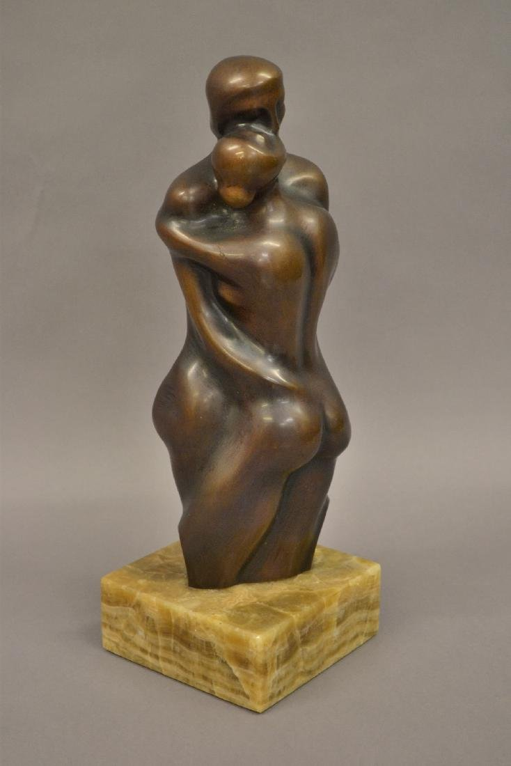 Alfonso Perez Plaza, dark patinated bronze group of an