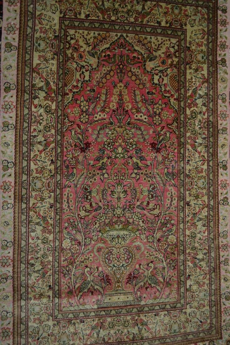 Small modern Persian silk prayer rug with a vase design