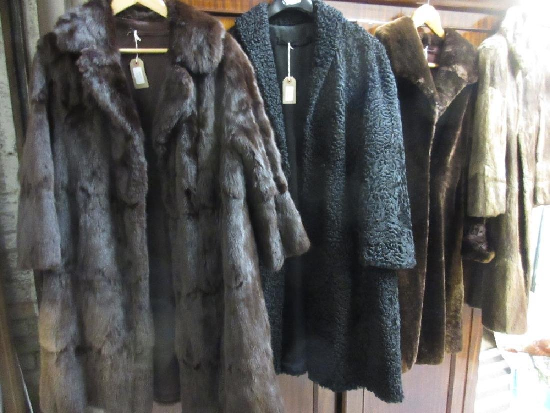 Two dark brown three quarter length fur coats together
