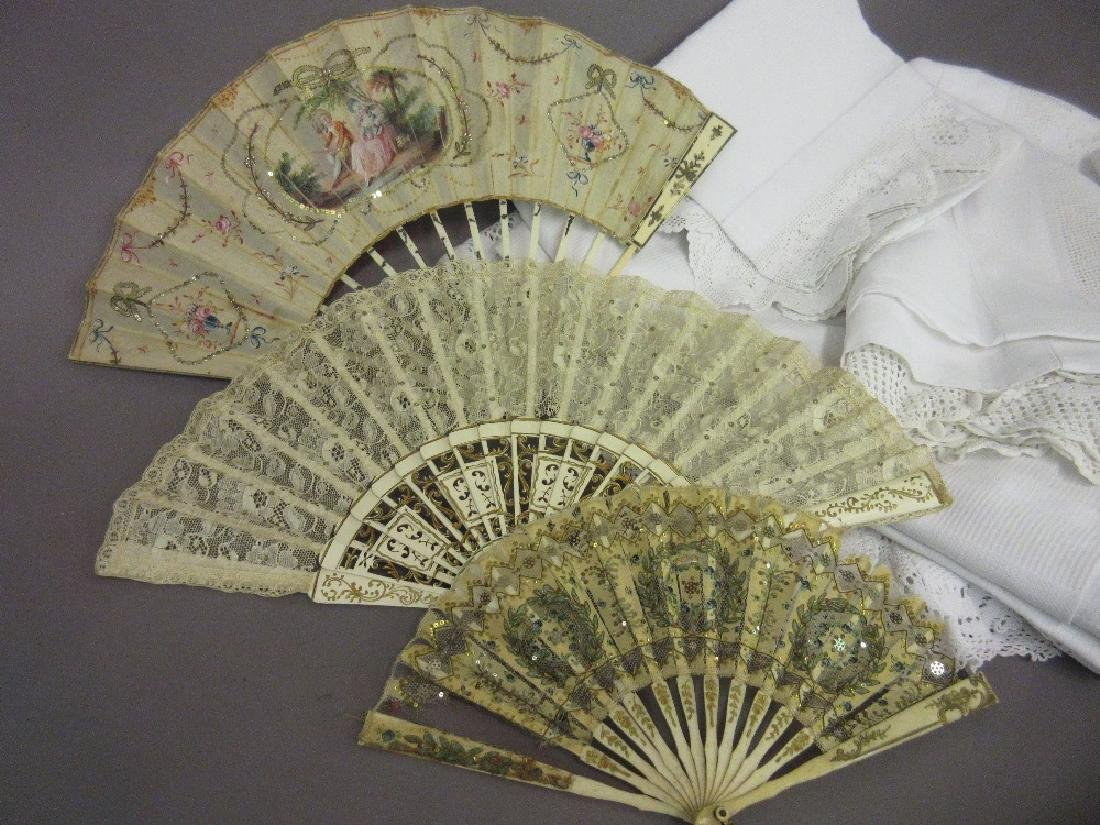 Two 19th Century lace work fans and another fan with