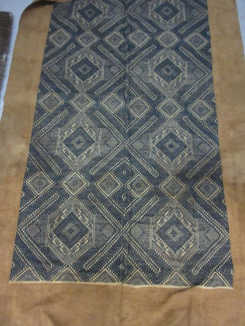 Japanese rectangular black cotton embroidered geometric