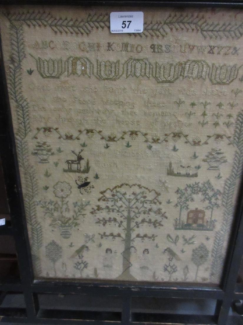 19th Century needlework sampler with figures and