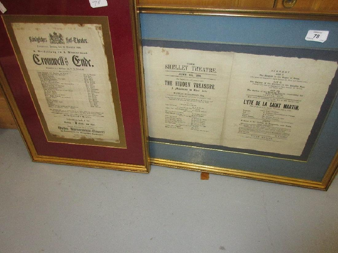 Gilt framed theatre bill, The Shelley Theatre, 1881 and