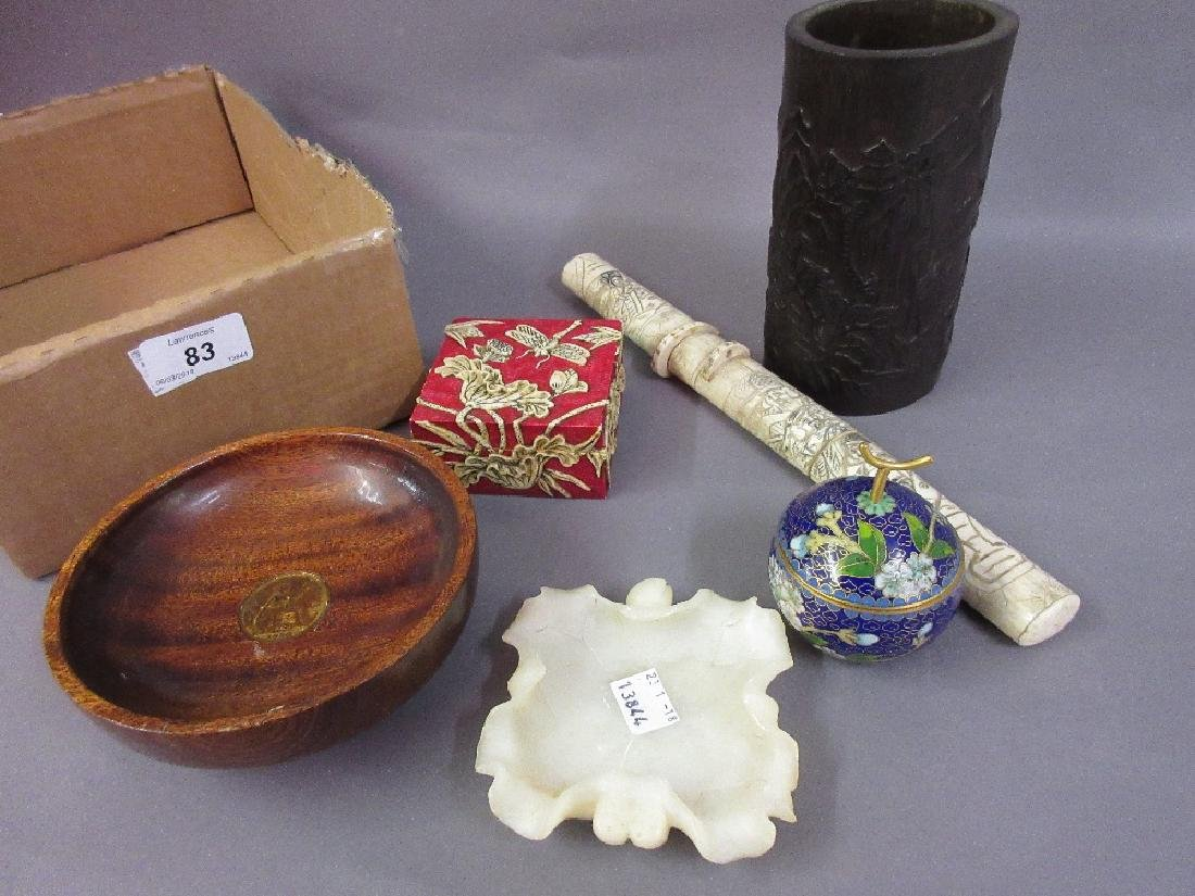 Chinese carved bamboo brush pot, small cloisonné box