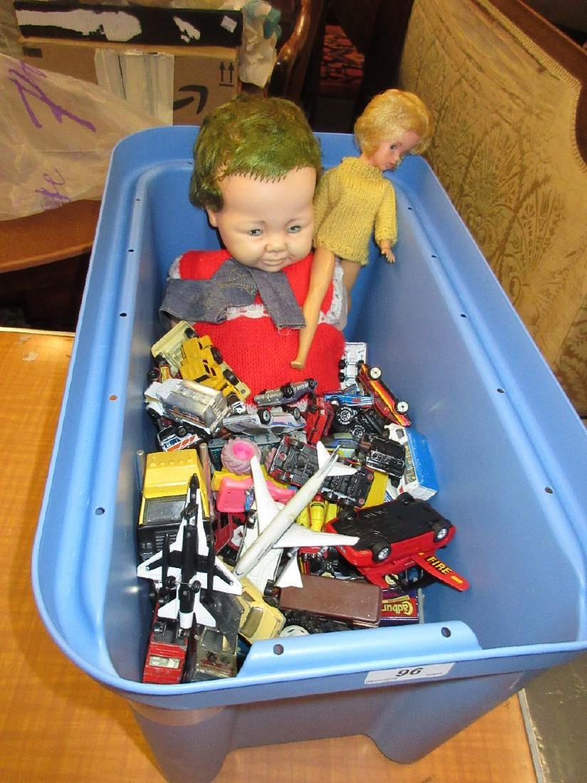 Box containing a quantity of model die-cast vehicles