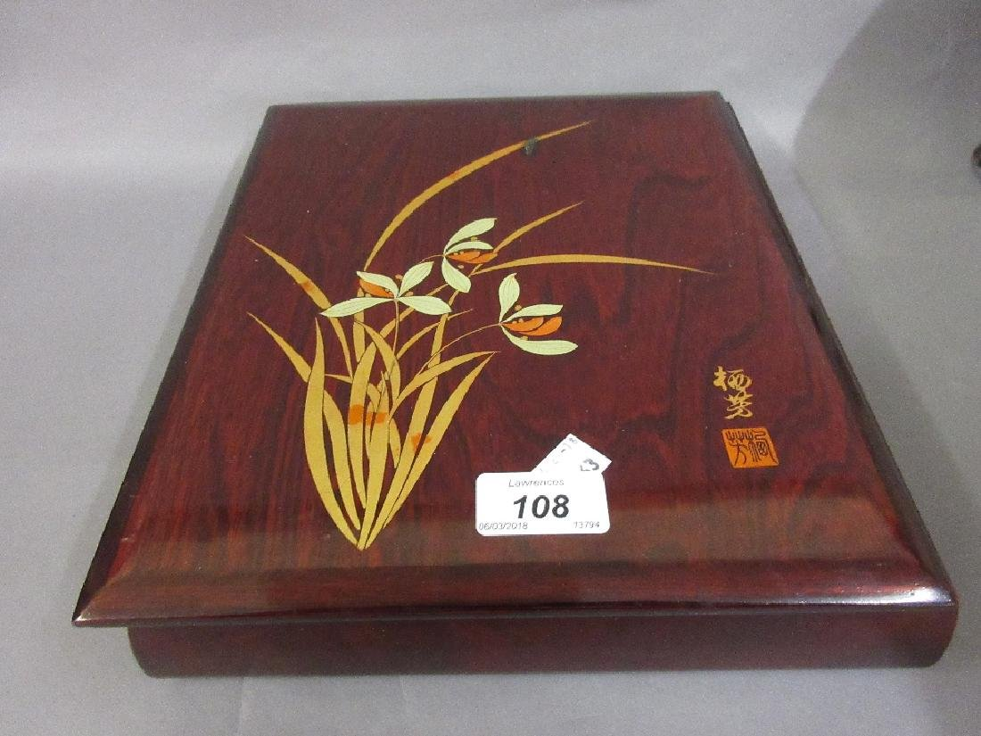 Japanese rectangular rosewood floral lacquer decorated