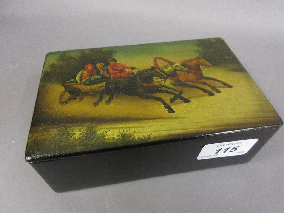 Russian rectangular papier mache cigarette box, the