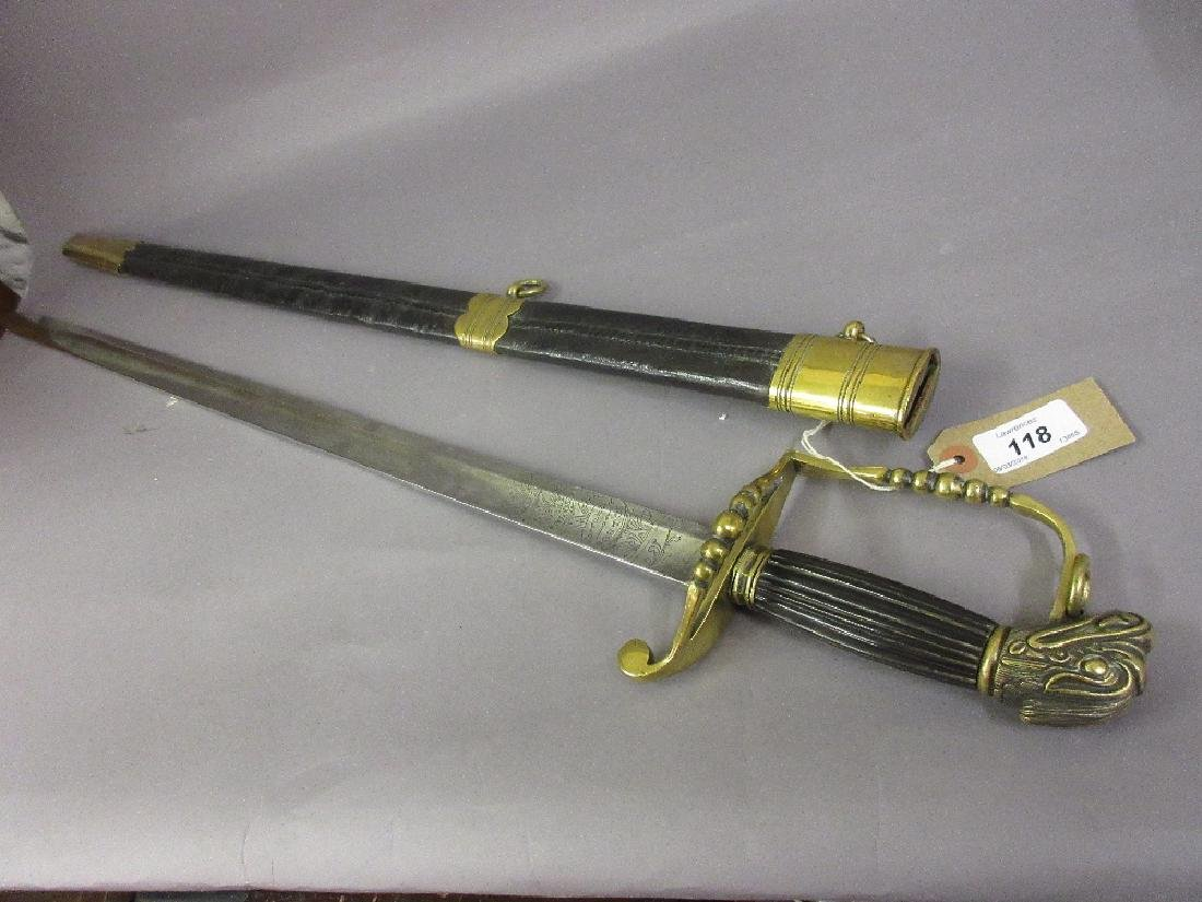 Reproduction sword with single fuller blade, engraved