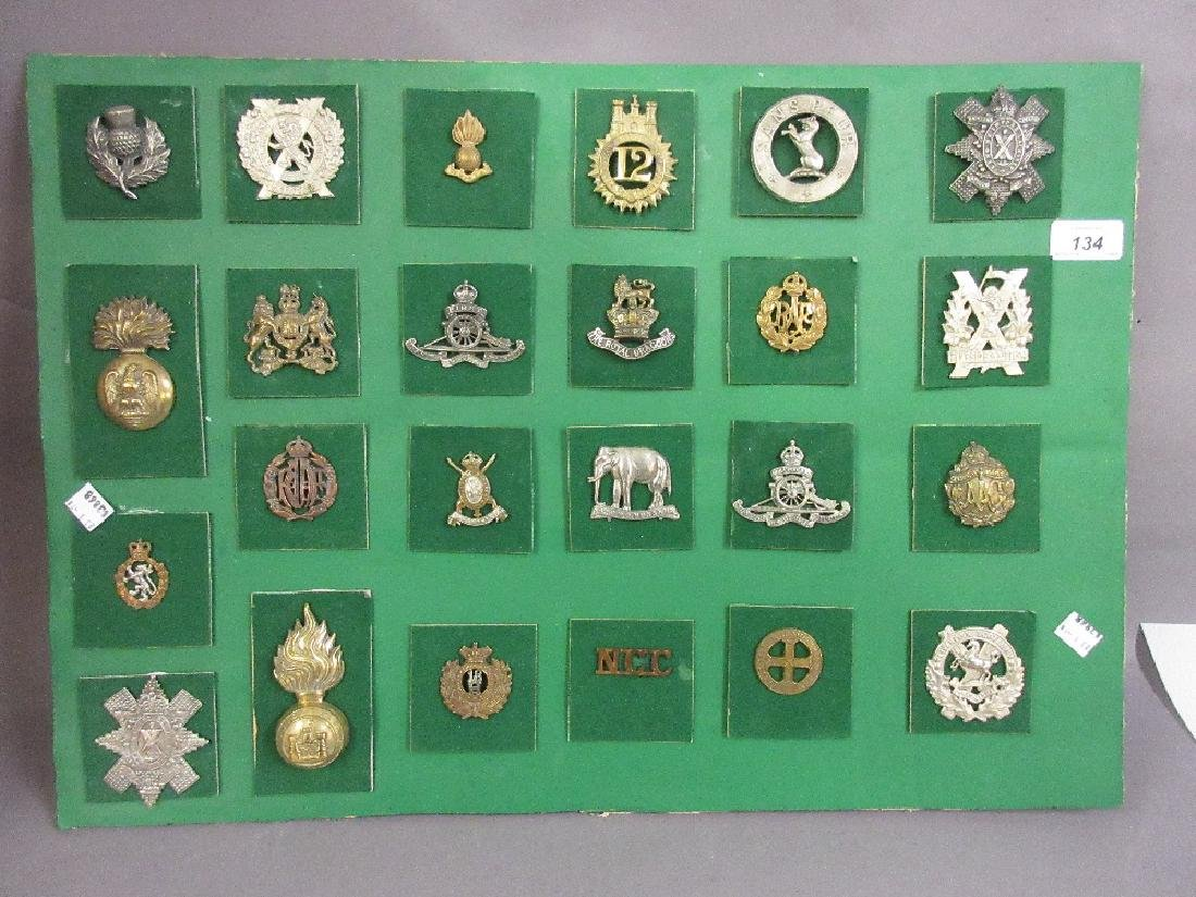 Collection of various military badges mounted on a