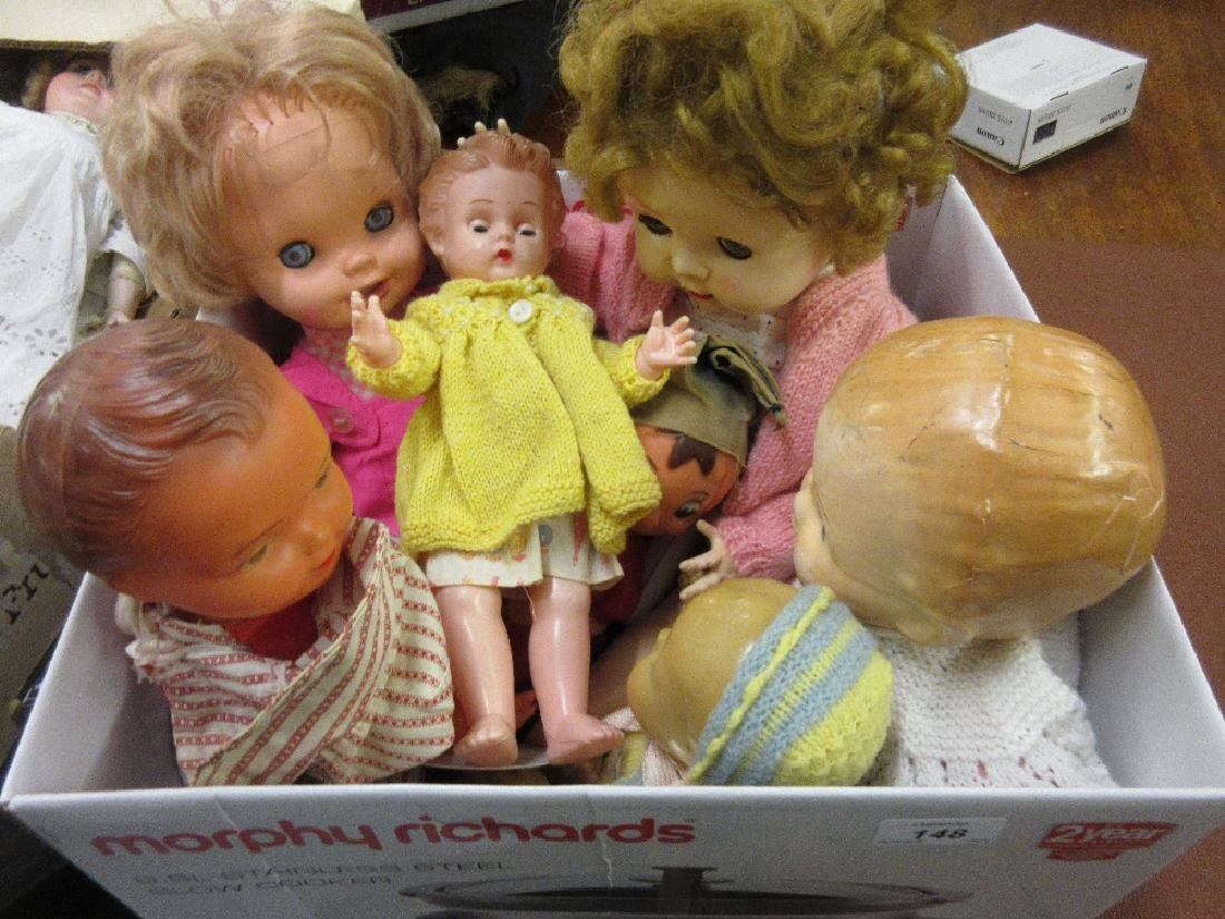 Box of various dolls including: Pedigree hard plastic