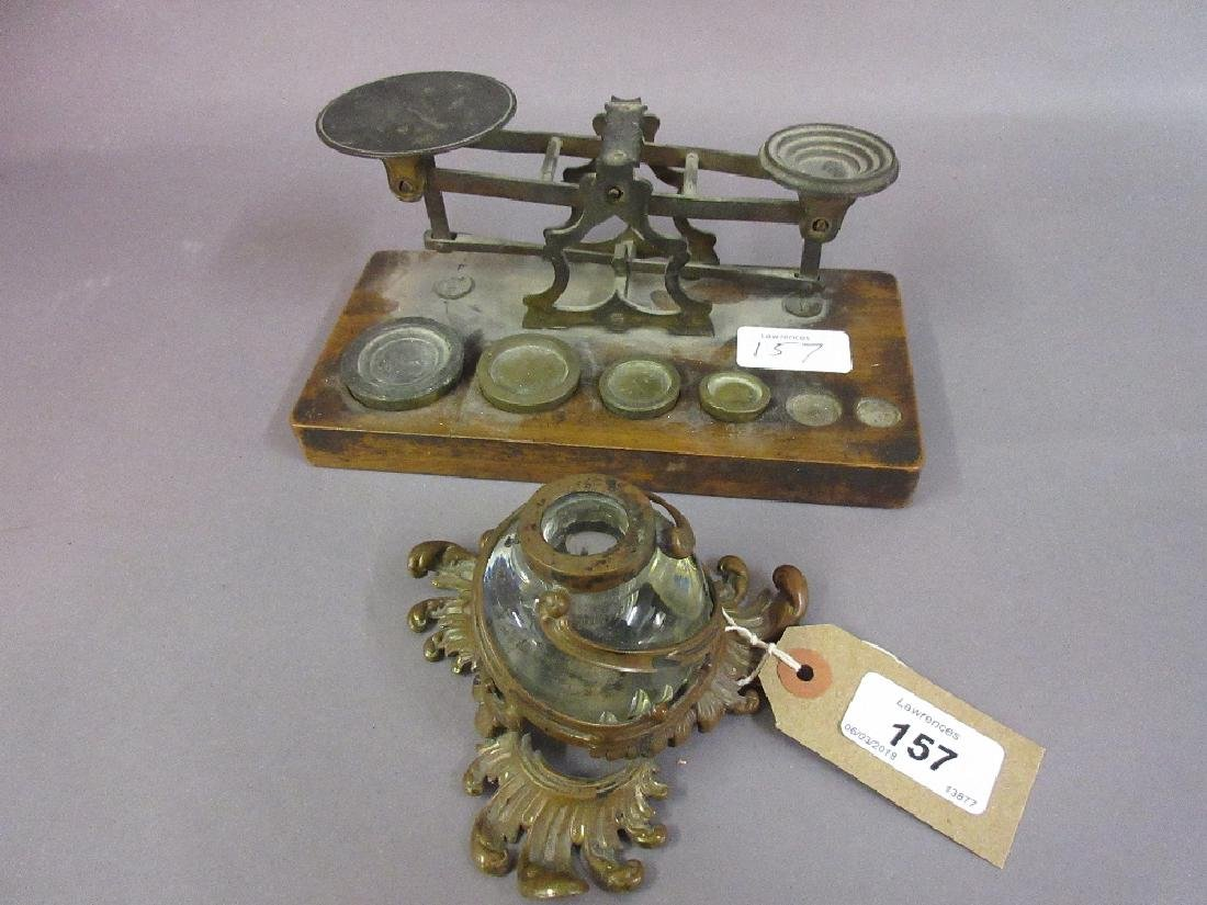 Victorian inkwell and a pair of small brass balance