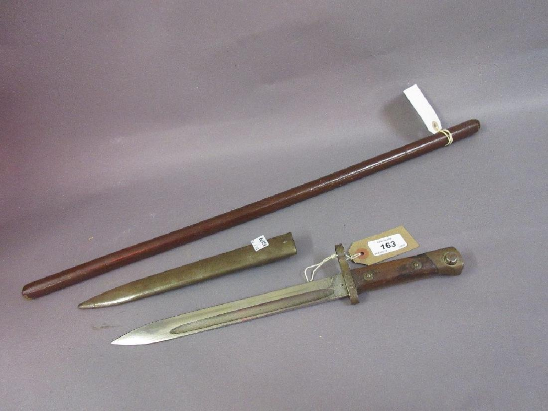Small bayonet with scabbard, the blade inscribed W.G.