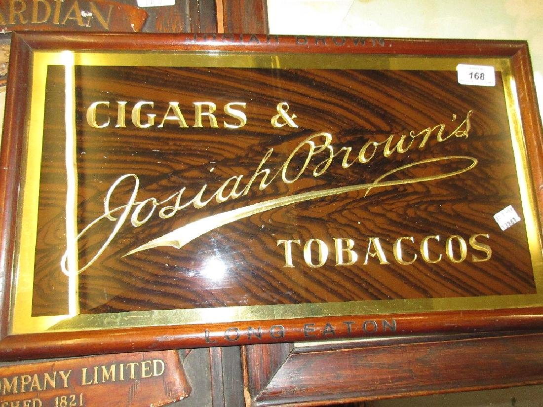 1920's Framed glass advertising sign, ' Josiah Brown's