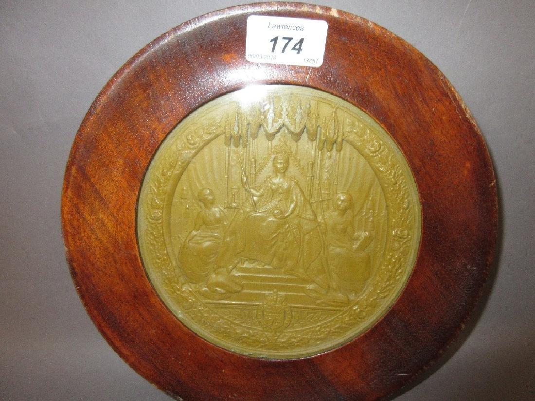 Victorian mahogany framed wax impression of the Great