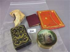 19th Century gilt metal and glass snuff box decorated