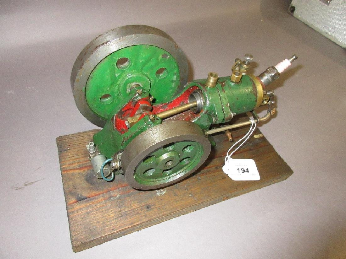Green painted open crank horizontal stationary engine