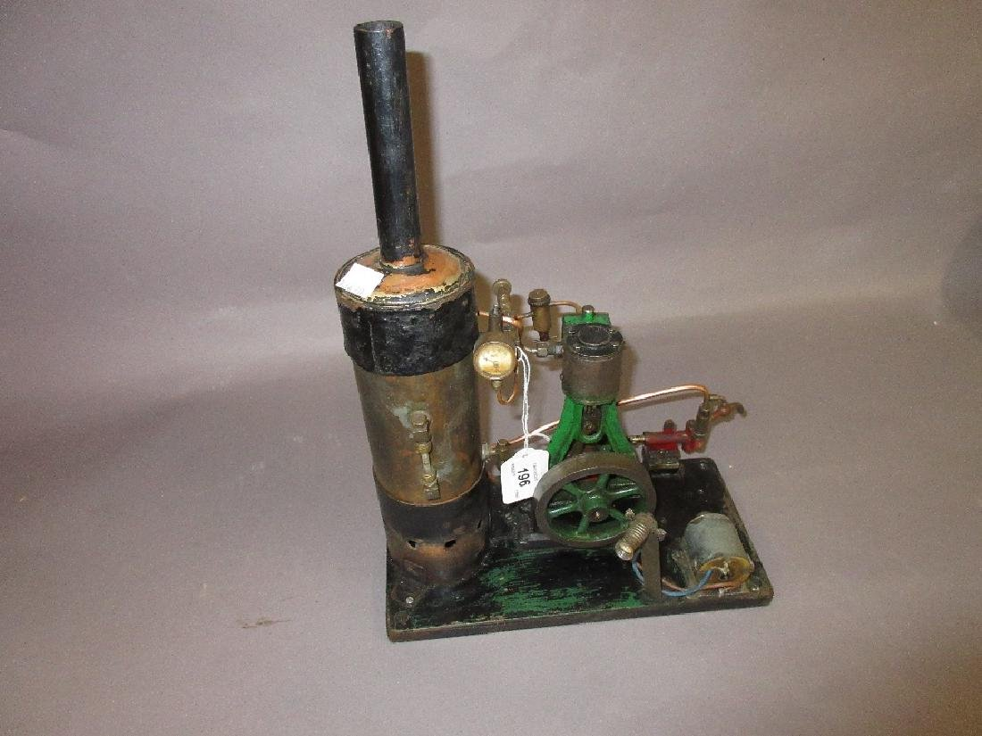 Vertical stationary engine with steam boiler