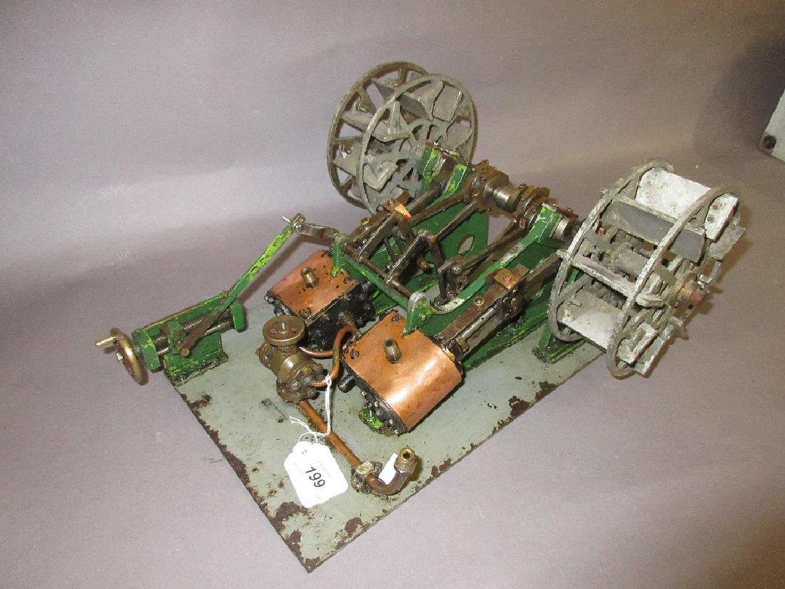 Twin piston horizontal stationary engine with attached