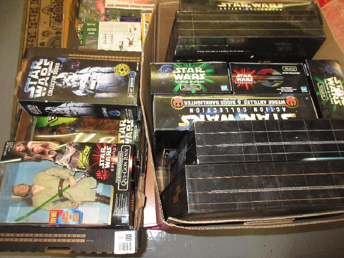 Two boxes containing collection of Star Wars toys