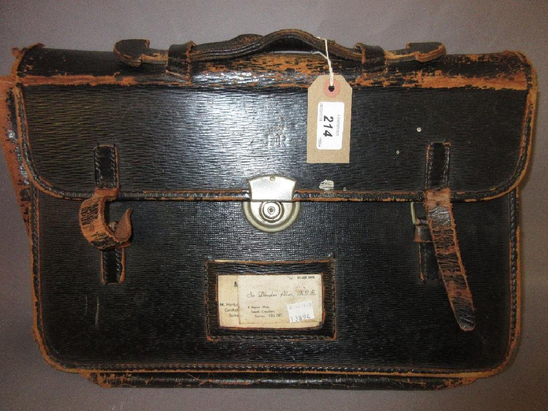 Black leather Civil Service briefcase with E.R.