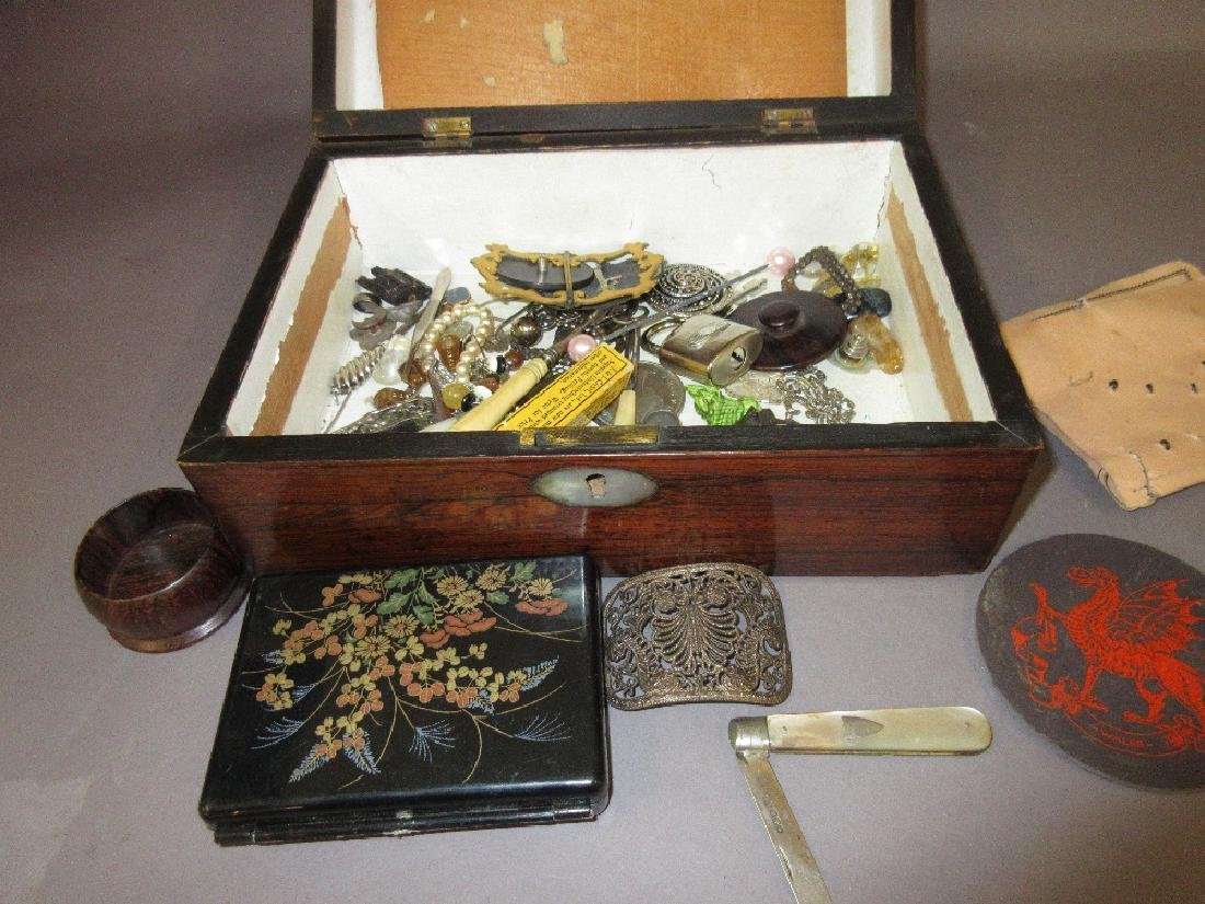 19th Century rosewood box containing miscellaneous