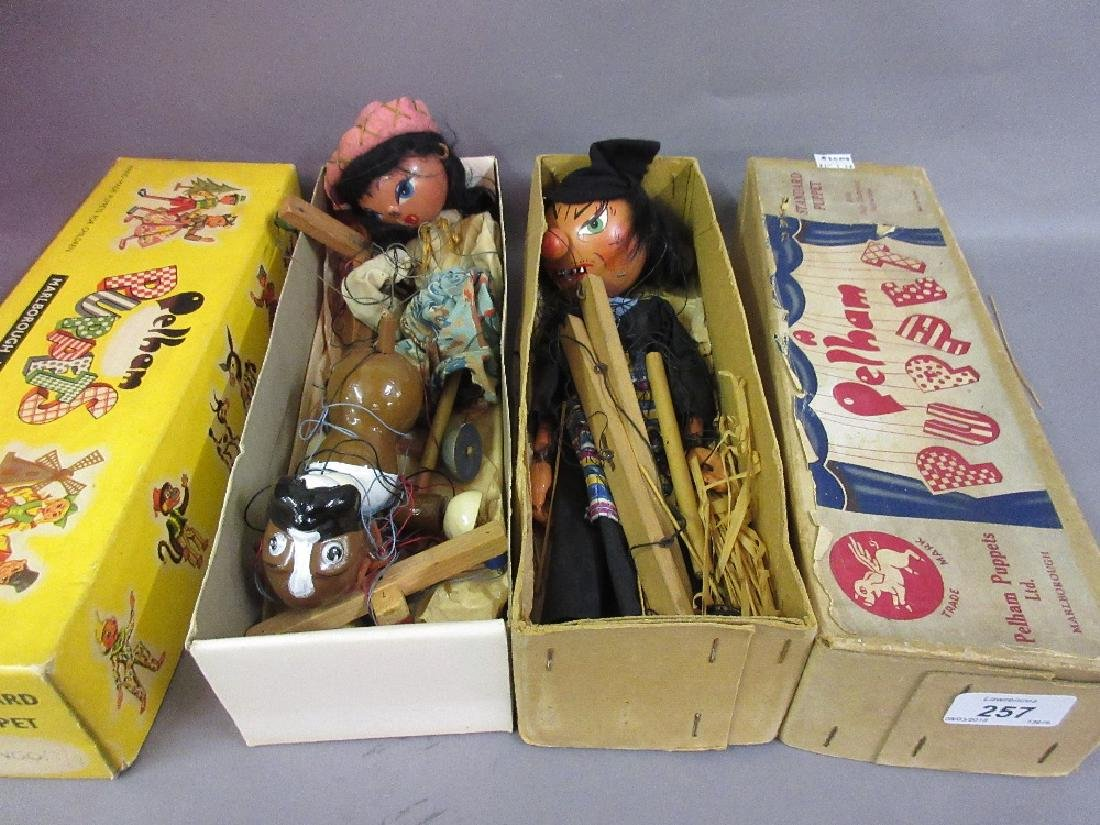 Two boxed Pelham puppets, ' Witch ' and ' Bingo '