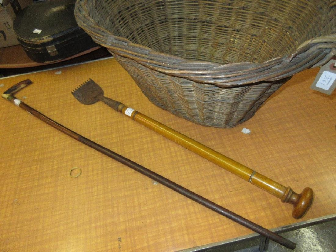 Horn handled Malacca walking stick, an oval two handled